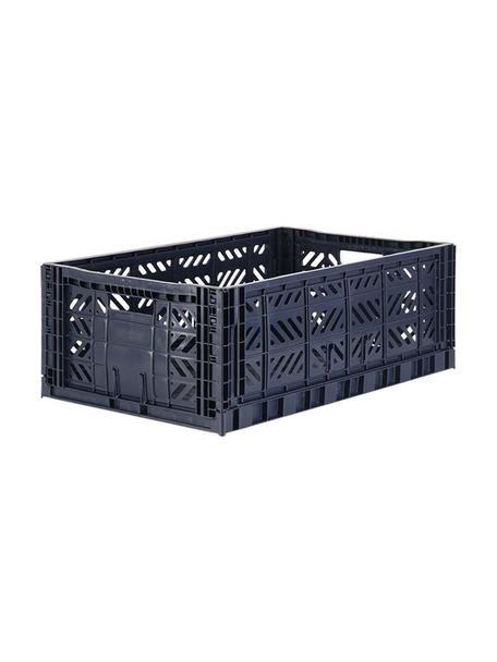 Caja plegable apilable Navy, grande, Plástico reciclado, Azul oscuro, An 60 x Al 22 cm