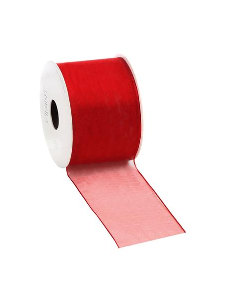 Geschenkband Anzo mit Draht-Verstärkung, 98% Nylon, 2% Draht, vernickelt, Rot, 7 x 2000 cm
