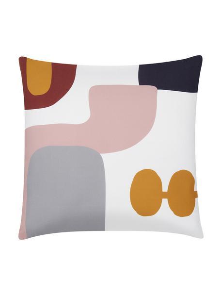 Kussenhoes Line met geometrische vormen, Weeftechniek: panama, Wit, grijs, roze, donkerrood, oranje, donkerblauw, 40 x 40 cm