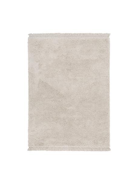 Flauschiger Hochflor-Teppich Dreamy mit Fransen, Flor: 100% Polyester, Creme, B 160 x L 230 cm (Grösse M)