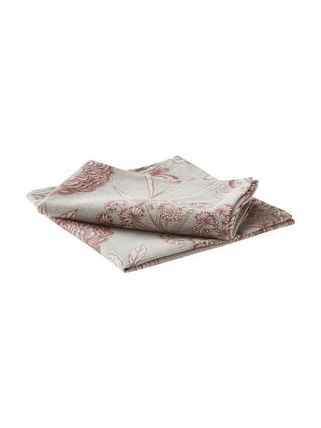 Stoff-Servietten Freya mit Blumenprint, 2 Stück, 86% Baumwolle, 14% Leinen, Beige, Rot, 42 x 42 cm