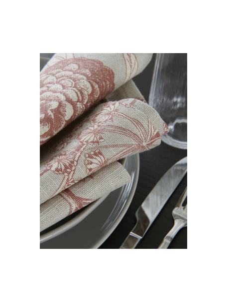 Stoffen servetten Freya met bloemenprint, 2 stuks, 86% linnen, 14% katoen, Beige, rood, 42 x 42 cm