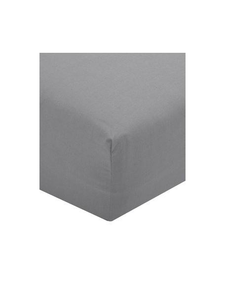 Sábana bajera de percal Elsie, Gris oscuro, Cama 90 cm (90 x 200 cm)