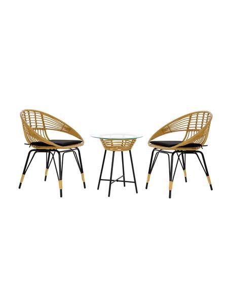 Tavolo e sedie da giardino Sunrise 3 pz, Struttura: rattan sintetico Gambe, Piano del tavolo: vetro, Beige, Larg. 64 x Prof. 59 cm