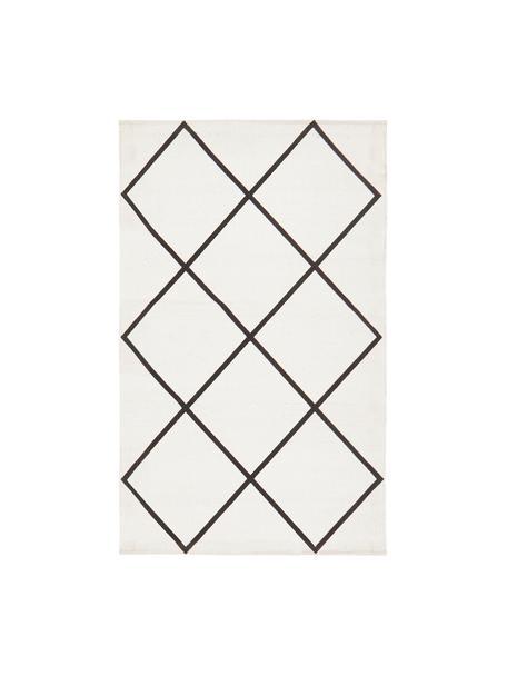 Tappeto in cotone tessuto piatto con motivo rombi Farah, 100% cotone, Bianco crema, nero, Larg. 50 x Lung. 80 cm (taglia XXS)