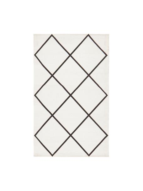 Tkany na płasko dywan z bawełny Farah, 100% bawełna, Kremowobiały, czarny, S 50 x D 80 cm (Rozmiar XXS)