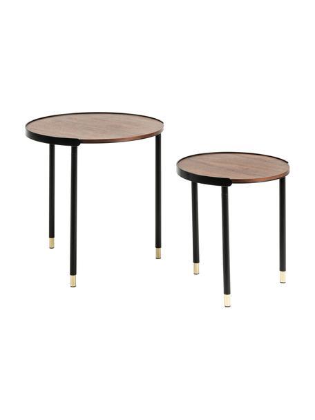Set 2  tavolini in legno Anabel, Ripiani: pannelli di fibra a media, Gambe: metallo, laccato, Legno di noce, nero, Set in varie misure