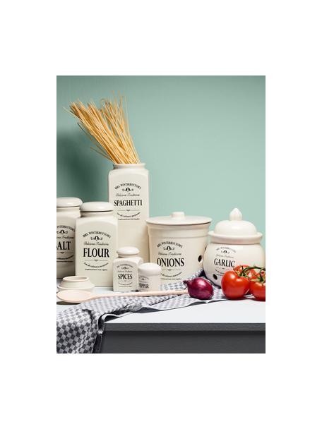 Bote Mrs Winterbottoms Flour, Gres, Crema, negro, Ø 11 x Al 21 cm