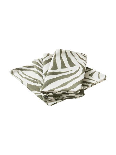 Tovagliolo in cotone con motivo zebra Zadie 4 pz, 100% cotone, Verde oliva, bianco crema, Larg. 45 x Lung. 45 cm