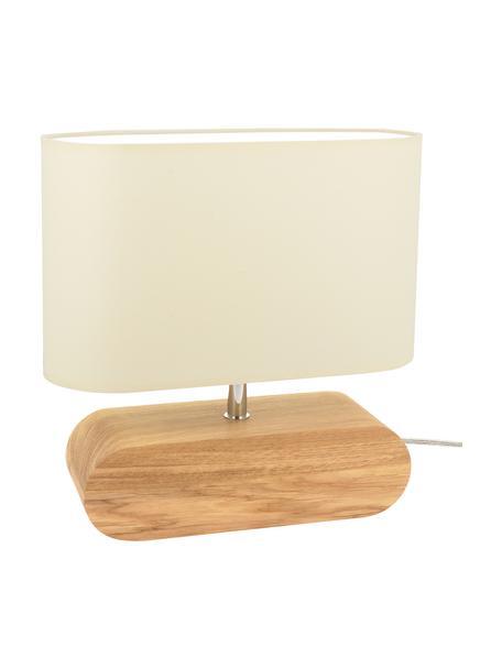 Kleine Tischlampe Marinna aus Eichenholz, Lampenschirm: Stoff, Lampenfuß: Eichenholz, geölt, Creme, Braun, 30 x 31 cm