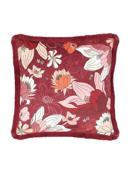 Federa arredo con motivo floreale e frange Flowerpower, 100% velluto di poliestere, Multicolore, Larg. 40 x Lung. 40 cm