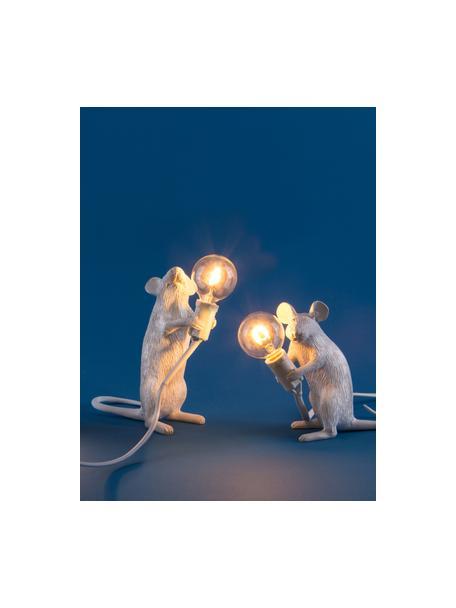 Lampada da tavolo di design Mouse, Lampada: resina sintetica, Bianco, Larg. 6 x Alt. 15 cm