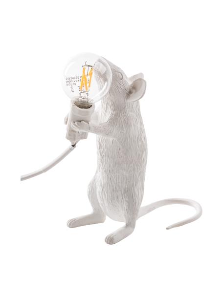 Kleine design tafellamp Mouse, Lamp: kunsthars, Wit, 6 x 15 cm