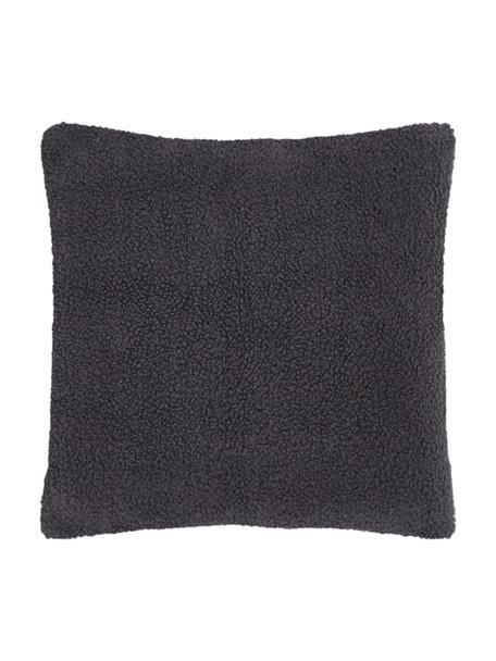 Flauschige Teddy-Kissenhülle Mille in Dunkelgrau, Vorderseite: 100% Polyester (Teddyfell, Rückseite: 100% Polyester (Teddyfell, Dunkelgrau, 45 x 45 cm