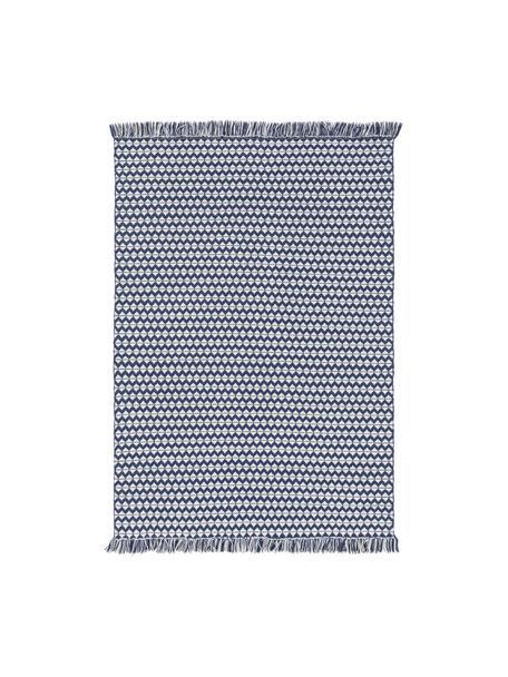 In- & outdoor vloerkleed Morty met ethnopatroon en franjes, 100% polyester (gerecycled PET), Donkerblauw, gebroken wit, B 80 x L 150 cm (maat XS)