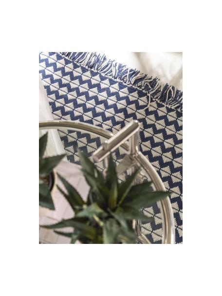 Tappeto etnico da interno-esterno con frange Morty, 100% poliestere (PET riciclato), Blu scuro, bianco latteo, Larg. 80 x Lung. 150 cm (taglia XS)