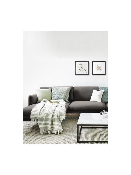 Fluwelen hoekbank Moby in bruingrijs met metalen poten, Bekleding: fluweel (hoogwaardig poly, Frame: massief grenenhout, Poten: gepoedercoat metaal, Bruin, B 280 x D 160 cm