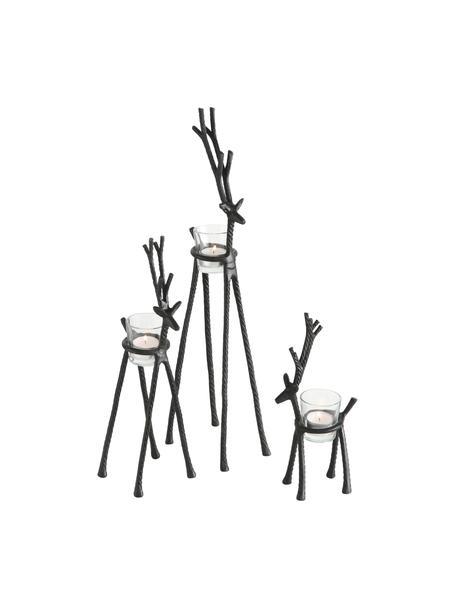 Waxinelichthoudersset Alfred, 3-delig, Frame: gecoat aluminium, Windlicht: glas, Zwart, Set met verschillende formaten