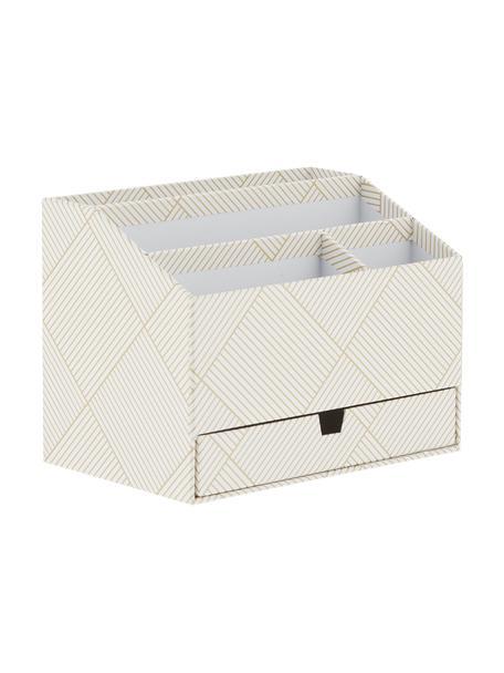 Büro-Organizer Greta, Fester, laminierter Karton (100% recyceltes Papier), Goldfarben, Weiss, 24 x 18 cm