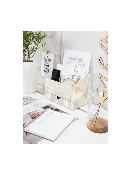 Organizer biurowy Greta, Solidna, laminowana tektura (Papier w 100% z recyklingu), Odcienie złotego, biały, S 24 x W 18 cm