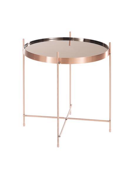 Mesa auxiliar Cupid, tablero de cristal, Estructura: metal, cobre, Tablero: vidrio, Cobre, Ø 43 x Al 45 cm