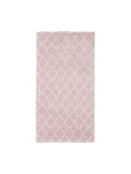 Hoogpolig vloerkleed Mona in oudroze/crèmewit, Bovenzijde: 100% polypropyleen, Onderzijde: 78% jute, 14% katoen, 8% , Oudroze, crèmewit, B 80 x L 150 cm (maat XS)