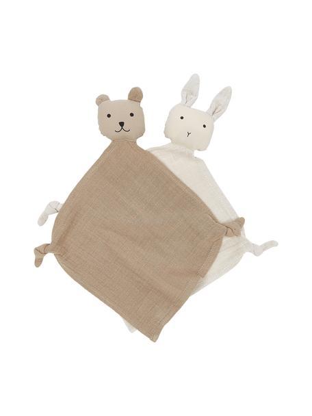 Set de doudous Yoko, 2uds., 100% algodón orgánico, Beige, An 25 x L 25 cm