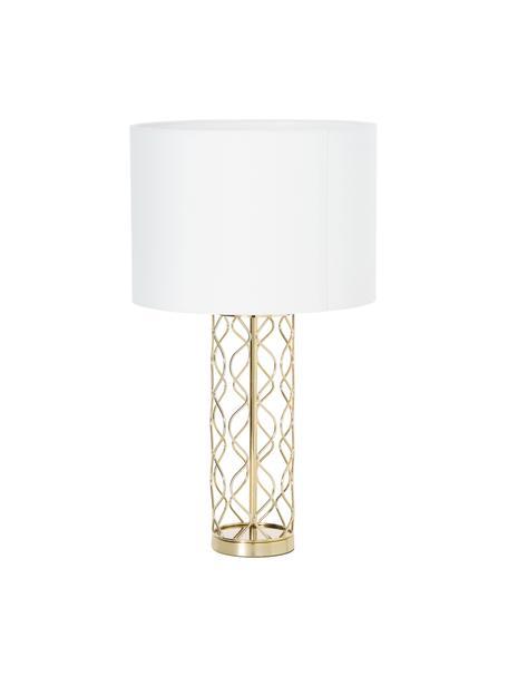 Grosse Tischlampe Adelaide in Weiss-Gold, Lampenschirm: Textil, Creme, Goldfarben, Ø 35 x H 62 cm