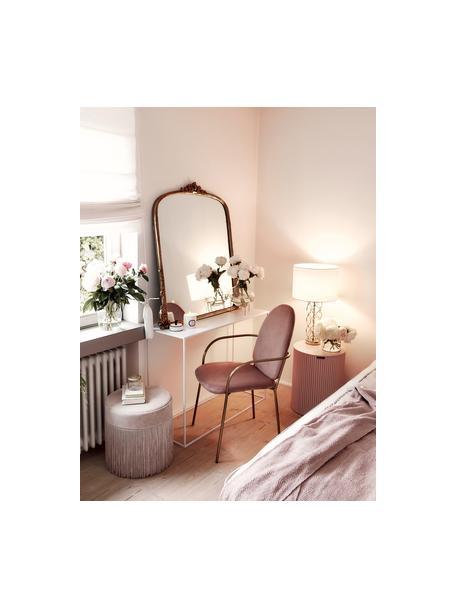 Lampada da tavolo bianco-dorata Adelaide, Paralume: tessuto, Base della lampada: metallo, Paralume: crema Base della lampada: dorato, Ø 35 x Alt. 62 cm