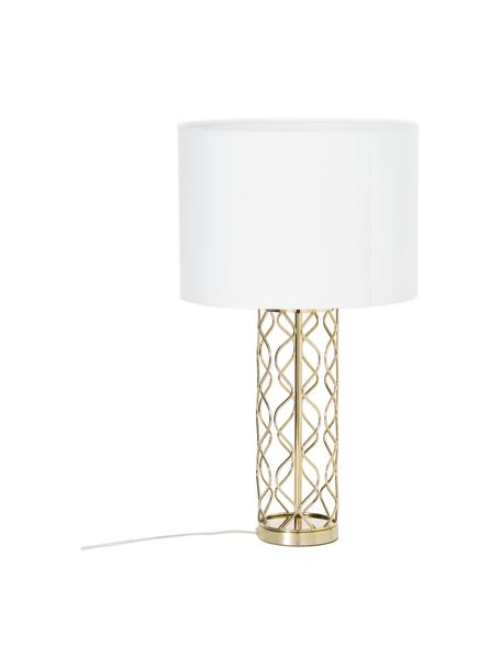 Große Tischlampe Adelaide in Weiß-Gold, Lampenschirm: Textil, Lampenfuß: Metall, Creme, Goldfarben, Ø 35 x H 62 cm