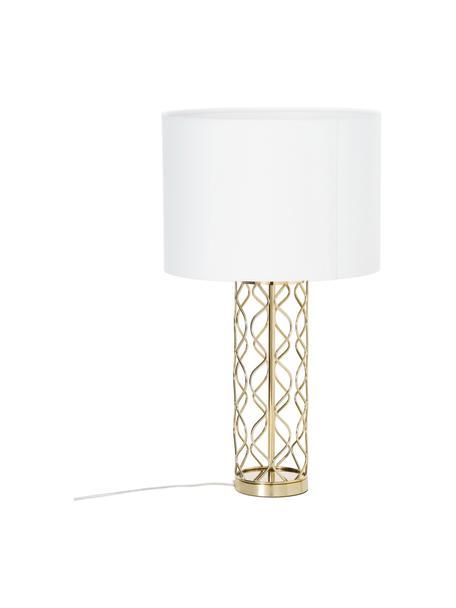 Grote tafellamp Adelaide in wit-goudkleurig, Lampenkap: textiel, Lampvoet: metaal, Lampenkap: crèmekleurig. Lampvoet: goudkleurig, Ø 35 x H 62 cm