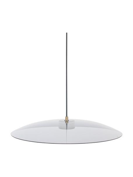 Dimbare LED hanglamp Float van glas, Lampenkap: glas, Baldakijn: gecoat metaal, Goudkleurig, transparant, Ø 50 x H 7 cm