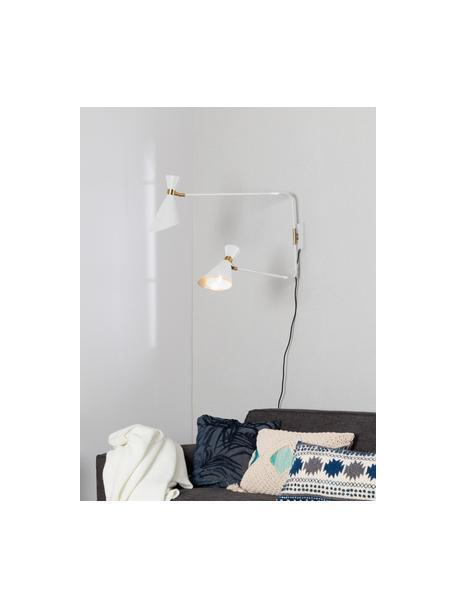 Große Wandleuchte Double Shady mit Stecker, Dekor: Metall, vermessingt, Weiß, Messing, 87 x 60 cm