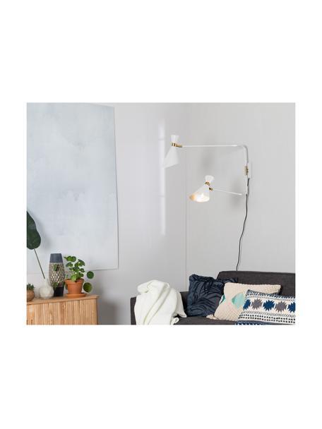 Wandleuchte Double Shady mit Stecker, Lampenschirm: Metall, pulverbeschichtet, Weiß, Messing, 87 x 60 cm