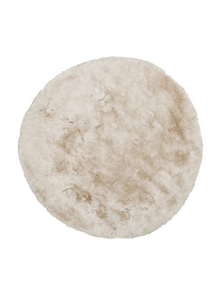 Glanzend hoogpolig vloerkleed Jimmy in ivoorkleur, rond, Bovenzijde: 100% polyester, Onderzijde: 100% katoen, Ivoorkleurig, Ø 150 cm (maat M)
