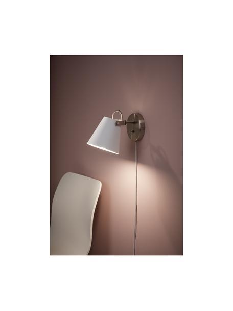 Wandlamp Tribe met stekker, Lampenkap: gepoedercoat staal, Frame: geborsteld staal, Wit, 14 x 20 cm