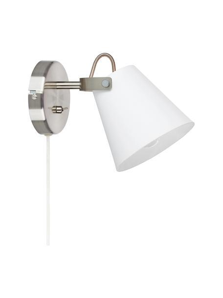 Wandleuchte Tribe mit Stecker, Lampenschirm: Stahl, pulverbeschichtet, Gestell: Stahl, gebürstet, Weiß, 14 x 20 cm