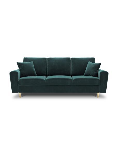 Sofa rozkładana z aksamitu z miejscem do przechowywania Moghan (3-osobowa), Tapicerka: 100% aksamit poliestrowy , Nogi: metal powlekany, Petrol, S 235 x G 100 cm