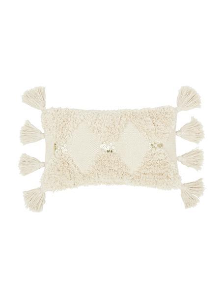 Federa arredo con ornamenti decorativi Judith, 100% cotone, Beige, Larg. 30 x Lung. 50 cm