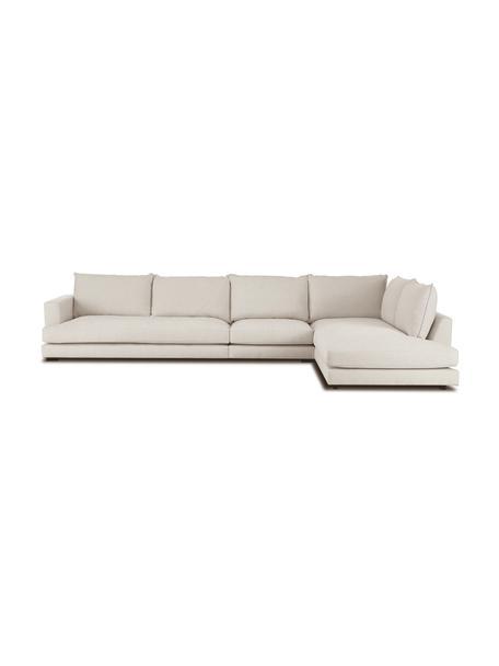 Sofa narożna XL Tribeca, Tapicerka: 100% poliester Dzięki tka, Stelaż: lite drewno sosnowe, Nogi: lite drewno sosnowe, laki, Ciemny beżowy, S 405 x G 228 cm