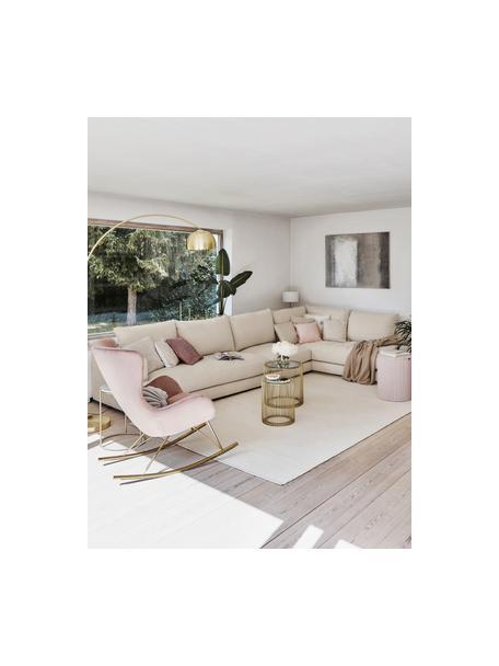 XL hoekbank Tribeca  in donkerbeige, Bekleding: 100% polyester, Frame: massief beukenhout, Poten: massief gelakt beukenhout, Stof donker beige, B 405 x D 228 cm