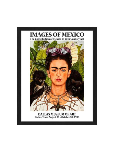 Ingelijste digitale print Frida In The Museum, Afbeelding: digitale print op papier,, Lijst: gelakt hout, Multicolour, 43 x 53 cm