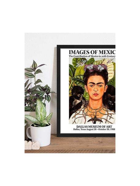 Stampa digitale incorniciata Frida In The Museum, Immagine: stampa digitale su carta,, Cornice: legno verniciato, Multicolore, Larg. 43 x Alt. 53 cm