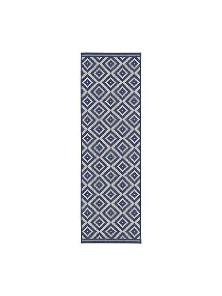 In- & outdoor loper met patroon Miami in blauw/wit, 86% polypropyleen, 14% polyester, Crèmewit, blauw, 80 x 250 cm