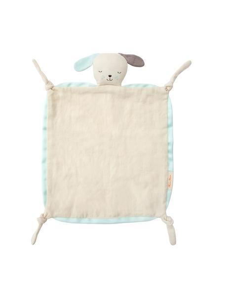 Doudou de algodón orgánico Dog, Borde: agodón satinado, Blanco crema, azul menta, marrón, An 40 x L 46 cm