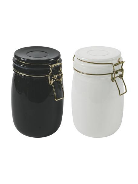 Opbergpotten set Modern, 2-delig, Glas, metaal, Wit, zwart, Ø 10 x H 14 cm