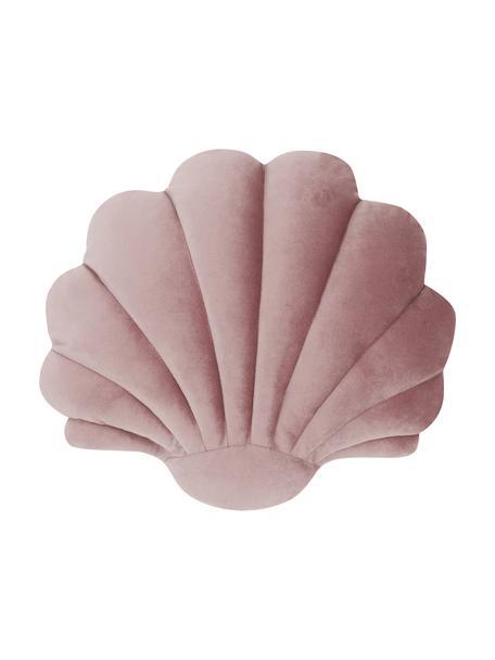 Fluwelen kussen Shell in schelp vorm, Oudroze, 30 x 28 cm