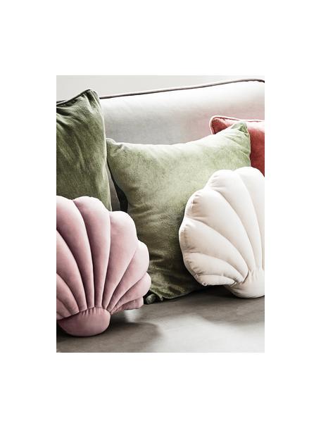 Samt-Kissen Shell in Muschelform, Vorderseite: 100% Polyestersamt, Rückseite: 100% Baumwolle, Altrosa, 30 x 28 cm
