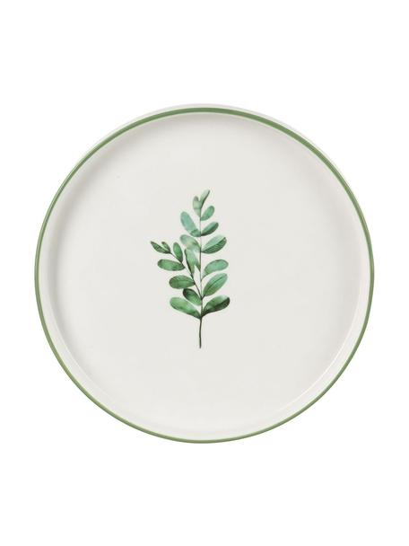 Platos postre Eukalyptus, 4uds., Porcelana New Bone, Blanco, verde, Ø 24 cm