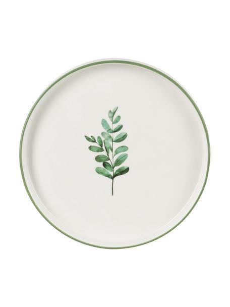 Talerz śniadaniowy Eukalyptus, 4 szt., Porcelana chińska New Bone China, Biały, zielony, Ø 24 cm